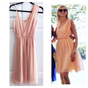 🌿 • Peach Chiffon Lined Evening / Party Dress •